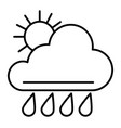 sun and rain thin line icon weather vector image vector image