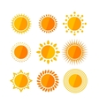 sun flat set vector image vector image