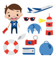 travel set flat icons smiling tourist editable vector image vector image