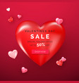 valentines day holiday offer on big red heart web vector image vector image