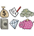 valuable objects cartoon set vector image vector image