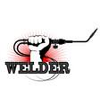 welding machine in hand design vector image vector image