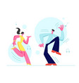 young couple man and woman dancing together vector image