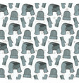 seamless pattern of hats mittens and a scarf vector image