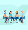 a team guys sitting in office at table vector image