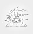 astronaut meditation on planet symbol design vector image vector image