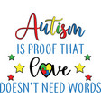 autism is proof that love does need words vector image