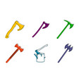 Axe icon set color outline style