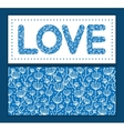 blue white lineart plants love text frame pattern vector image