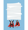 Business man and woman superhero lifting a lot of vector image vector image
