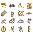 canoeing icons set flat vector image vector image