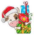 cartoon bull with gifts in a santa hat vector image vector image