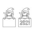 cartoon lineart 2021 year cute bacow ox cub vector image vector image