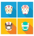 Cats doctors icon flat vector image vector image