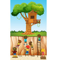 Children climbing up the cliff vector image vector image