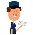clipart a postman carrying an envelope in his vector image vector image