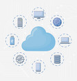 cloud storage and technology devices vector image vector image
