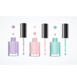 Colorful Nail Polish Open Bottle Set vector image