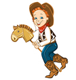 cowboy kid and toy horse vector image