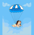 cute baby in pilot hat falling down with blue vector image vector image