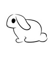 cute rabbit silhouette on white vector image