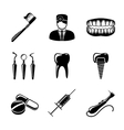 Dental icons set with - tooth jaw toothbrush vector image vector image