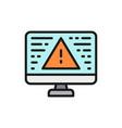 desktop computer with warning sign screen error vector image vector image
