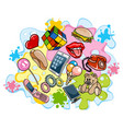 different items on colored background vector image vector image