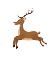 drawn brown reindeer - christmas symbol vector image