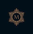 elegant monogram letter m logo design template vector image vector image