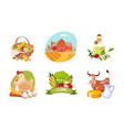 farm animals poultry and eco healthy products set vector image vector image