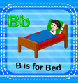 flashcard letter b is for bed vector image vector image