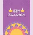 happy dussehra festival india mandala diya vector image vector image