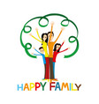 happy family holding hands up vector image vector image