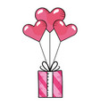 heart balloons with gift box vector image