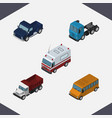 isometric automobile set of first-aid freight vector image vector image