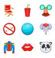 joke icons set cartoon style vector image vector image