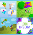 kite banner set cartoon style vector image