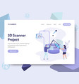 landing page template 3d scanner concept vector image vector image
