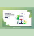 landing page template video play modern flat vector image