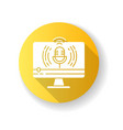 live broadcasting yellow flat design long shadow vector image vector image