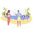 man make photo girl in bikini posing on seaside vector image vector image