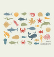 marine life icons silhouettes sea inhabitants vector image vector image