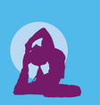 meditating girl silhouette vector image vector image