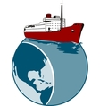 Passenger Cargo Ship on Top of Globe vector image vector image