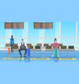 passengers keeping distance to prevent coronavirus vector image vector image