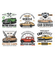 retro cars service auto show and spare part store vector image vector image