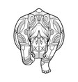 rhinoceros black white hand drawn coloring page vector image vector image