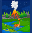 scene with two dinosaurs in river vector image vector image