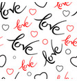 seamles pattern with valentines day love lettering vector image